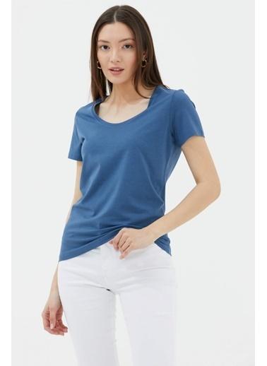 Sementa Açık Yaka Basic Tshirt - Mavi Mavi
